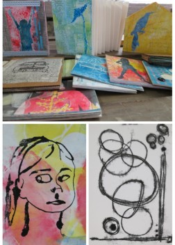 printmaking without a press, artists books, thermofax screen print and trace monoprints - by Linda Germain