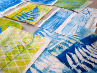 Monotype printmaking on fabric on the gel plate