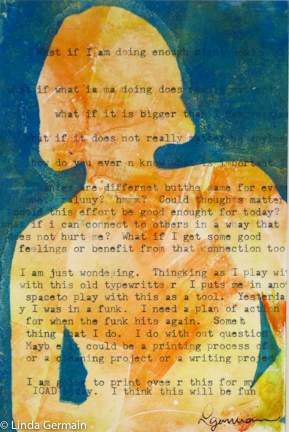 gelatin print with typewriter text by linda germain