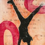 abstracted numbers and a gelatin plate print by linda germain
