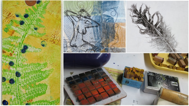 Left to right, gelatin monotype print, Trace mono print over collage, monotype print and relief printing tools.