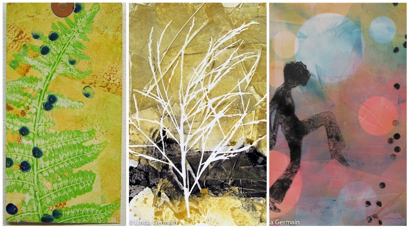 Delicate monotype prints on the gelatin and glycerin plate - Linda Germain