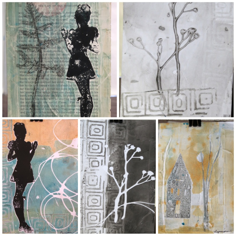 Monotype prints pulled on the road - Linda Germain