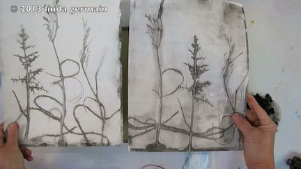 2 monotype prints - left has newsprint pick up and increased contrast - Linda Germain