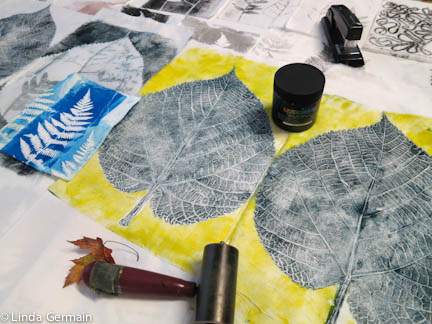 Gelatin Monotypes on fabric with organic ferns and leaves - Linda Germain