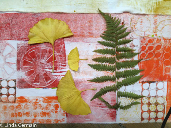 Leaves and ferns for monoprinting on fabric with the gel plate