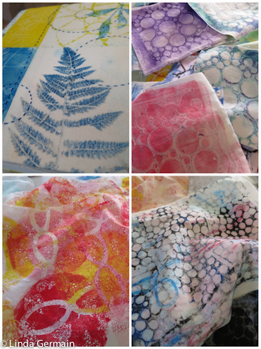 Monoprints on Fabric with stamping tools, stencils, ink and the glycerin and gelatin plate