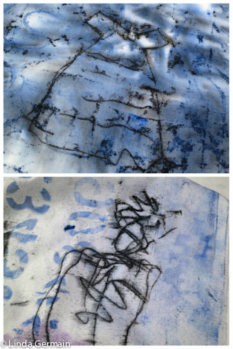 Trace monoprint on fabric with screen printing inks by Linda Germain
