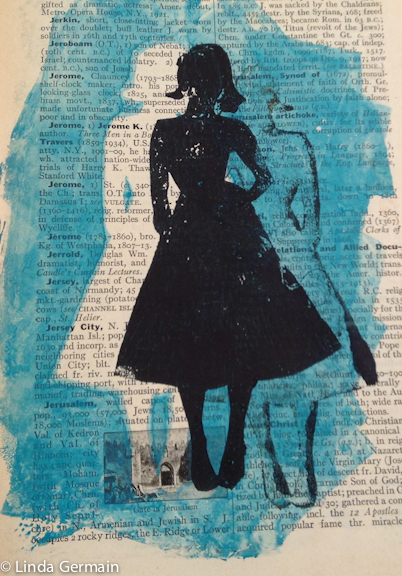 Monotype Print with glycerin plate by Linda Germain
