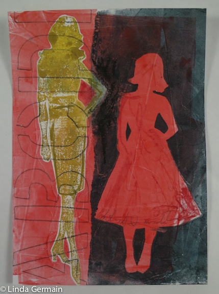 Monotype print made with stencils and the gelatin plate - Linda Germain