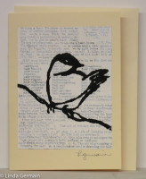 hand pulled screen print card of a bird by linda germain