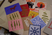 simple paper stencils used to make these screen printed cards
