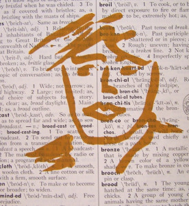 Drawing fluid screen print on recycled book page