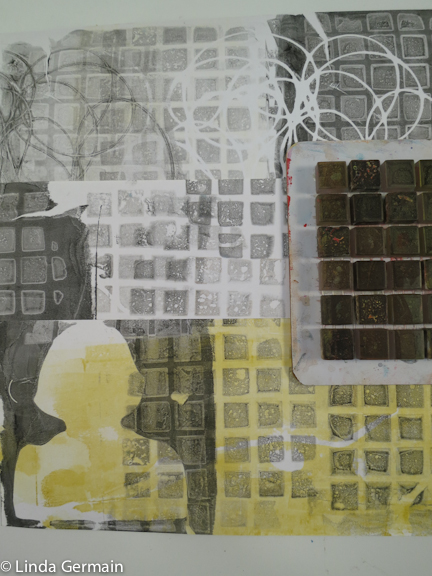 Prints made with Recycled tile sample as printing tool