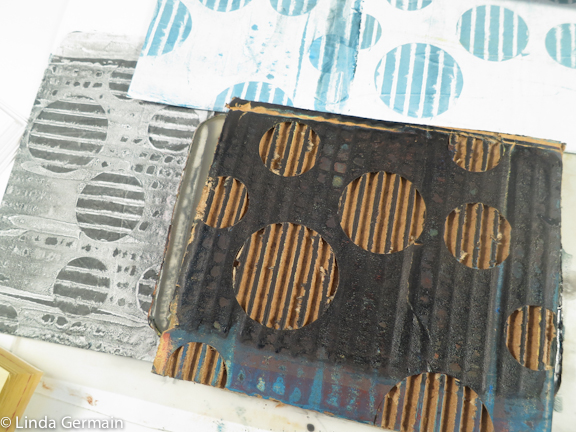 simple circles cut into corrugated cardboard to make stamping tool - Linda Germain teacher