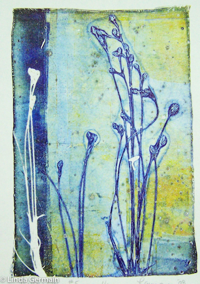 Delicate grass print by Linda Germain on the gelatin plate