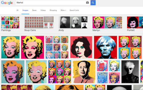 Screen shot Google search Warhol