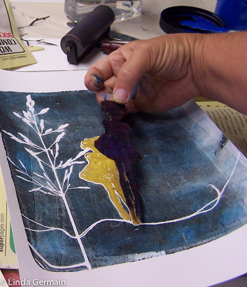 Hand cut masking stencil used with the gelatin plate for printmaking without a press by Linda Germain