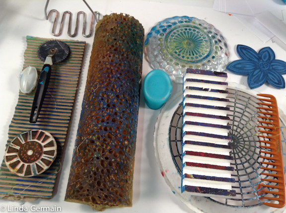 Ten stamping tools for gelatin printing linda germain