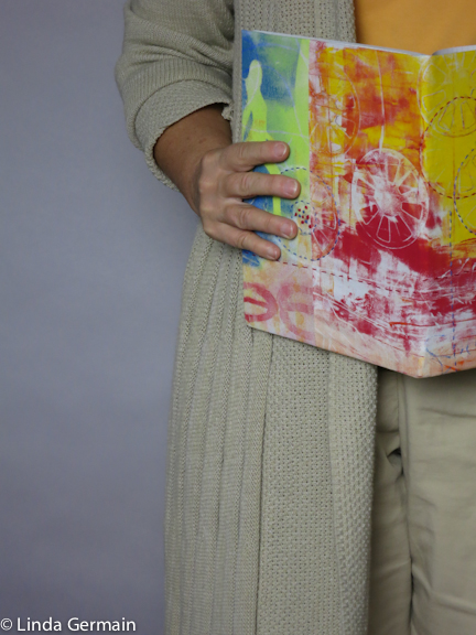 Book cover made with gelatin printed monotype fabric