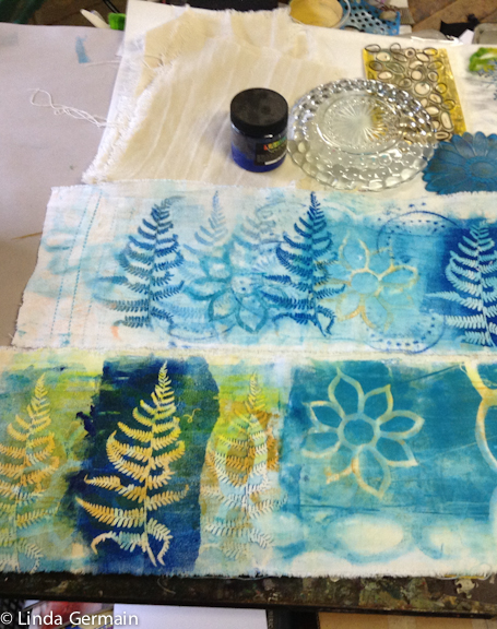 Layering shapes and making gelatin plate monotype prints