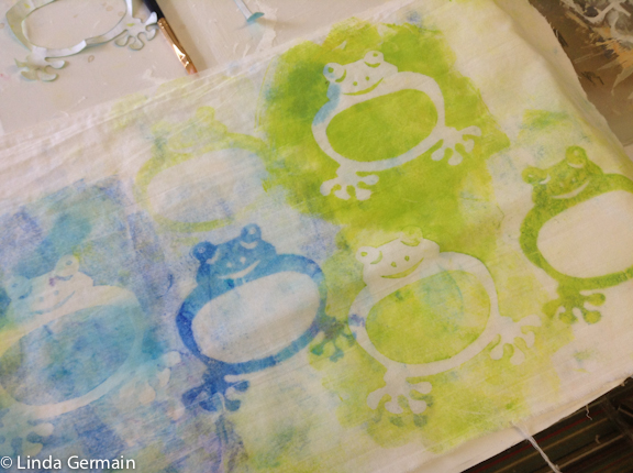 stencil marks on fabric with the gelatin plate
