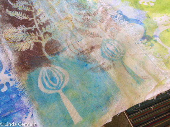 Gelatin plate monotype on fabric with stencils