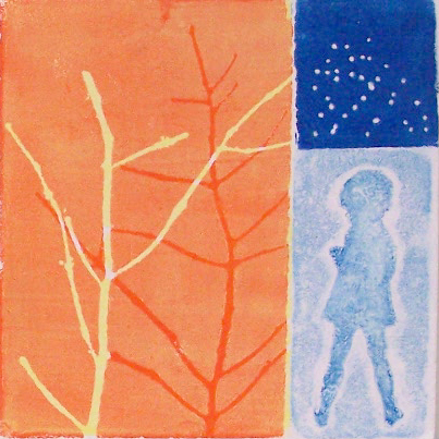 Relief block print with many layers - Linda Germain