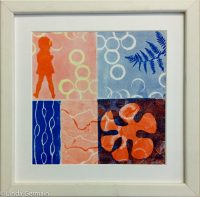 Masking stencils and relief block print - Linda Germain