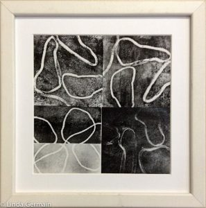 Black and white monoprint on paper - Linda Germain