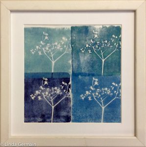 monochromatic block print on paper - Linda Germain