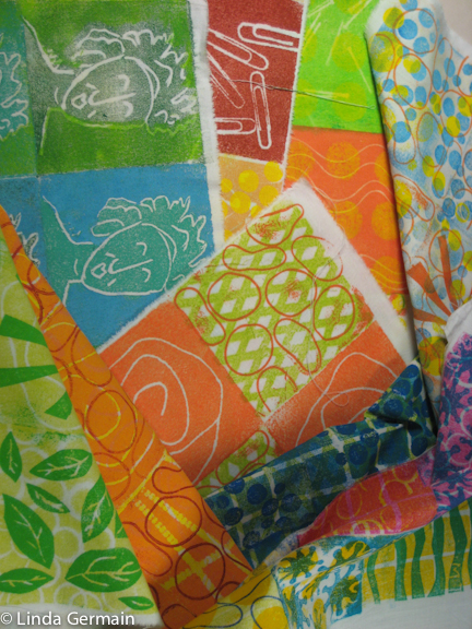 soft plate relief prints on fabric by linda germain