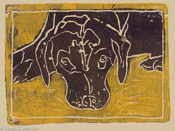 Drawing into foam plate block print - Linda Germain