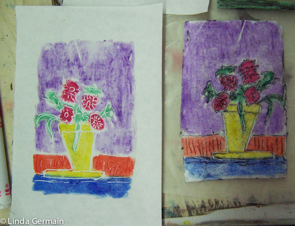 Relief plate made with water soluble pastels - Linda Germain
