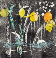 mixed media relief print with collage - Linda Germain