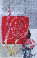 Sewn collage monotype print with relief printing Linda Germain