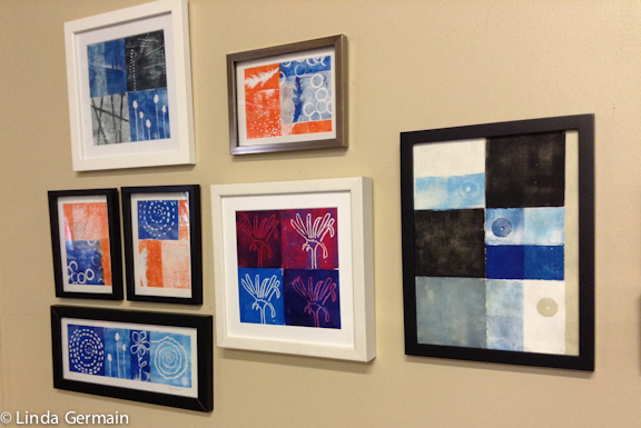 Artists display of relief plate prints by linda germain