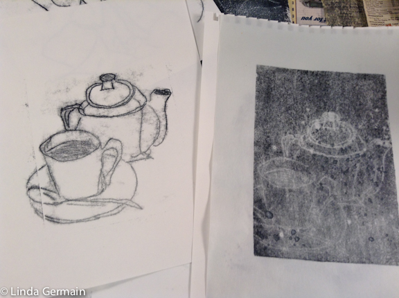 Trace monoprint from simple line drawing linda germain