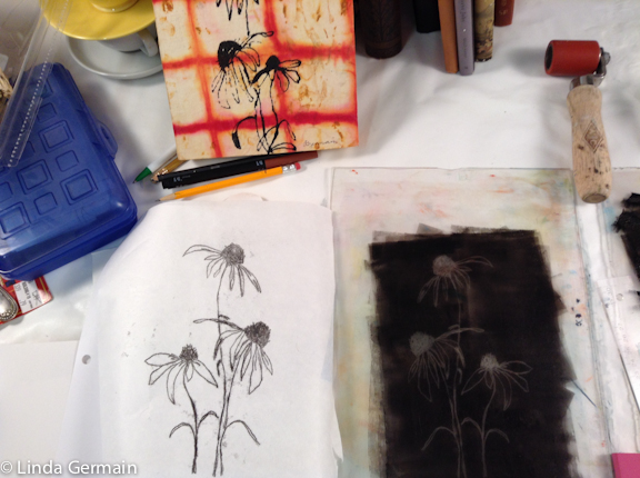 contour drawings and trace monoprint workshop