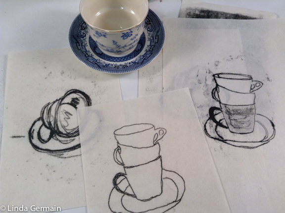 Tea cup drawings turned into trace monotypes