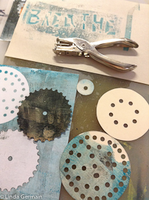 hole punch as a tool for making stencils to use with the gelatin plate