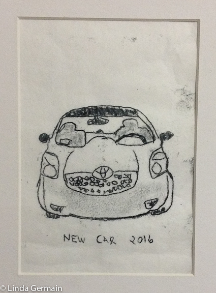 Trace Monotype print of Toyota Yaris by Linda Germain