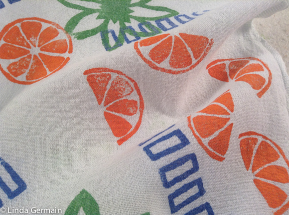 hand printed fabric with several thermofax screens