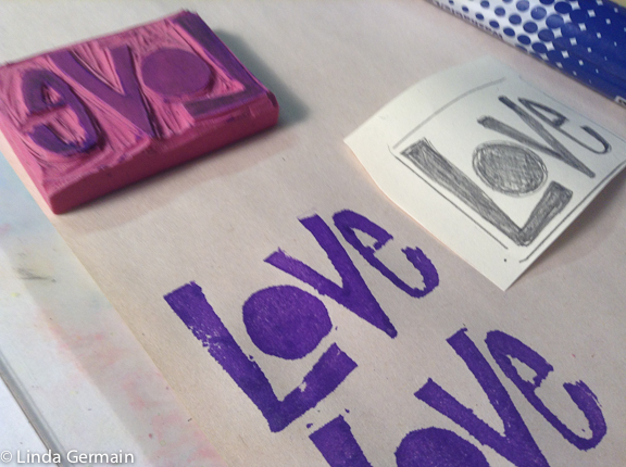block printing on paper with eraser blocks