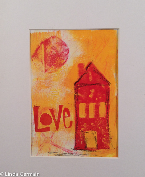 Gelatin print with hand stamping by linda germain