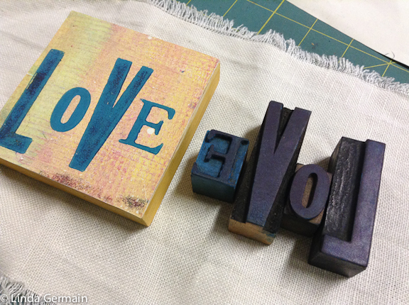 Hand printed love block