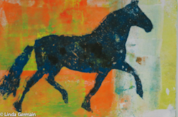gelatin print of horse by linda germain