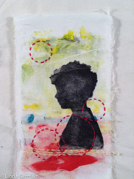 portait over an abstract landscape monoprint on fabric