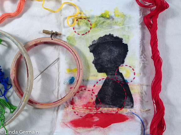 Monoprint on fabric with hand stitching by linda germain