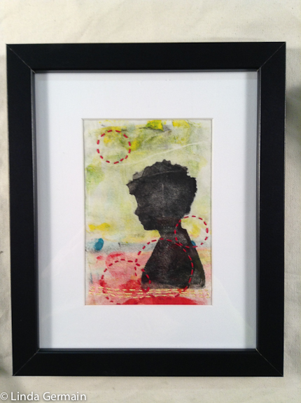 framed monotype print on cotton fabric